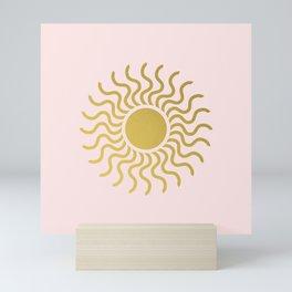 Sun in Splendour Gold on Pastel Pink Mini Art Print