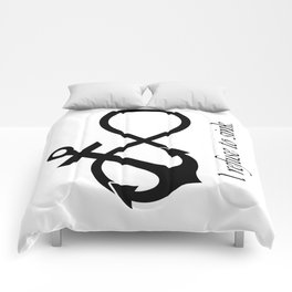 """""""I refuse to sink"""" Quote (Infinity Anchor Symbol) Comforters"""