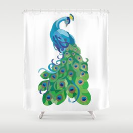 Peacock illustration Shower Curtain