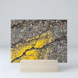 Urban Texture Photography - Road Markings Yellow Arrow Mini Art Print