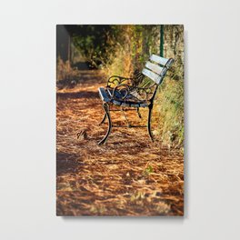 Sunrise in the Provence, France |  Blue bench in the morning sun, with autumn leaves | Travel photograpy | Fine art photo print in color.  Metal Print
