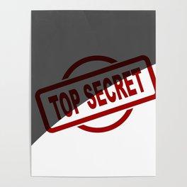 Top Secret Half Covered Ink Stamp Poster