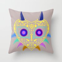 majora Throw Pillows featuring Dia de los Majora - Legend of Zelda by Katie Halliday