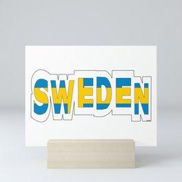Sweden Font with Swedish Flag Mini Art Print