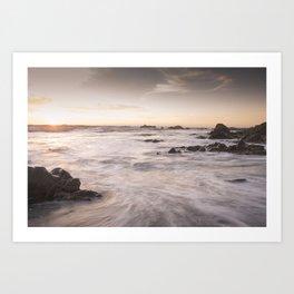 Cambria coast at sunset, Ca Art Print