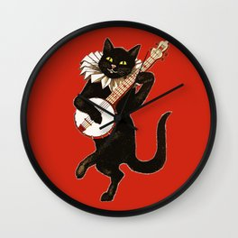 Black Cat for Halloween with Red Wall Clock