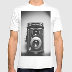 Yashica-A black and white MEDIUM White Mens Fitted Tee