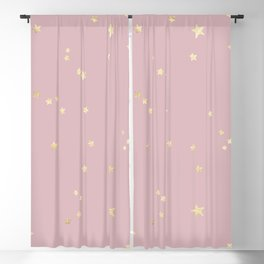 Pretty Pink & Gold Stars Blackout Curtain