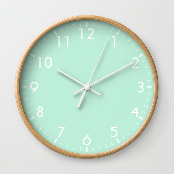 Mint Green Wall Clock By Beautifulhomes Society6