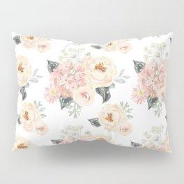 Bouquets pattern. Blush pink peonies. Pillow Sham