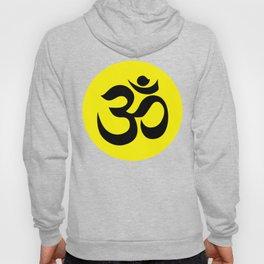 Black AUM / OM Reiki symbol on yellow background Hoody