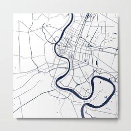 Bangkok Thailand Minimal Street Map - Navy Blue and White Metal Print