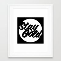 stay gold Framed Art Prints featuring STAY GOLD by HAUS OF DEVON