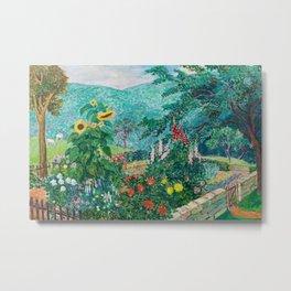 The Summer Flower Garden in the Mountains by Hélène Funke Metal Print