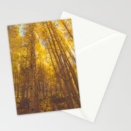 Autumn trees and yellow leaves Stationery Cards