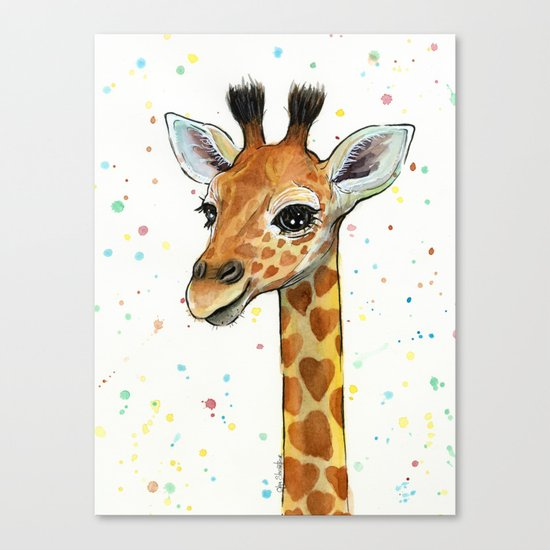 Giraffe Baby Animal with Hearts Watercolor Cute Whimsical Animals Nursery Canvas Print