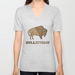 Bulletproof Bison Buffalo - Wild Bison Jokes Gift Unisex V-Neck