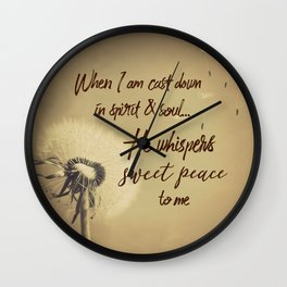 Hymn Typography: Sweet Peace Wall Clock