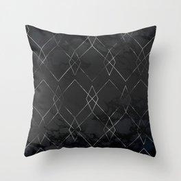 Silver Geometric Modern Pattern Trendy Black Marble III Throw Pillow