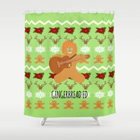 ed sheeran Shower Curtains featuring Gingerbread Ed II by Laura Maria Designs