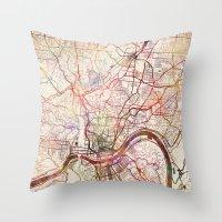 cincinnati Throw Pillows featuring Cincinnati by MapMapMaps.Watercolors