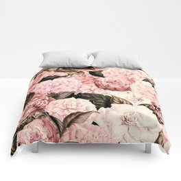 Vintage & Shabby Chic Pink Floral camellia flowers watercolor pattern Comforters