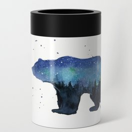 Forest Bear Silhouette Watercolor Galaxy Can Cooler