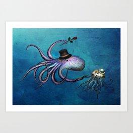 Underwater Love // octopus jellyfish Art Print