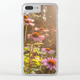 Sun setting on purple coneflower garden with bee on flower Clear iPhone Case