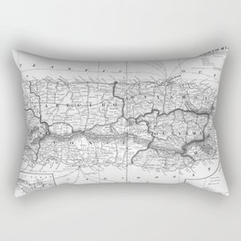 Vintage Map of Puerto Rico (1901) BW Rectangular Pillow