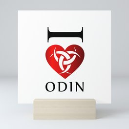 I love Odin- The graphic is a symbol of the horns of Odin, a satanist symbol Mini Art Print