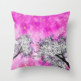NEBULA  DREAMS TREES  PINK Throw Pillow