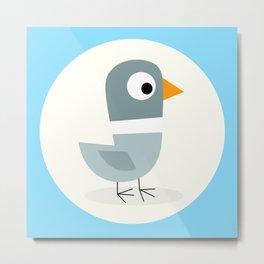 Mr Bird Blue Metal Print