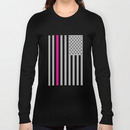 American Flag Pink Ribbon Breast Cancer Awareness Long Sleeve T-shirt