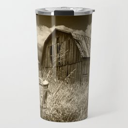 Weathered Wooden Barn with Water Pump and Metal Bucket in Sepia Tone Travel Mug