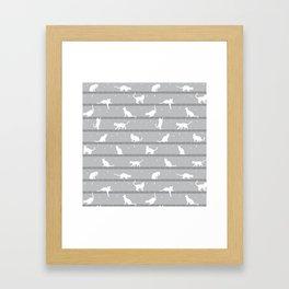 Cats Pattern (Grey) Framed Art Print
