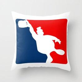 Funny Big Guy Sports Logo Throw Pillow