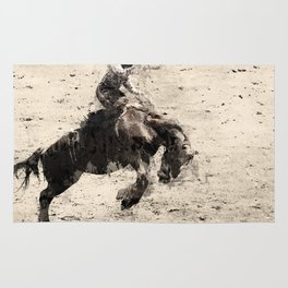 Hanging On - Bronco Busting Champ Rug