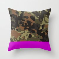 jay fleck Throw Pillows featuring Magenta Fleck Tarn Camo by Derek Boman