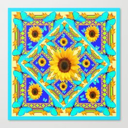 Western Art Sunflowers & Turquoise Butterflies With Black Canvas Print