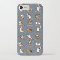english bulldog iPhone & iPod Cases featuring English Bulldog Yoga by Huebucket