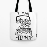 hiphop Tote Bags featuring I AM HIPHOP  by Geryes