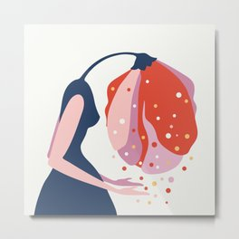Crying blossom lady - vector artwork Metal Print