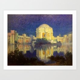 San Francisco Palace of the Fine Arts Temple and Lagoon landscape painting by Colin Campbell Cooper  Art Print