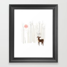 Reindeer of the Silver Wood Framed Art Print