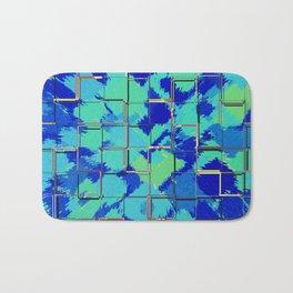Abstract Squares Blue & Green Bath Mat