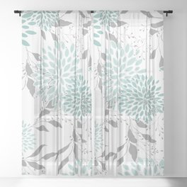 Festive, Floral Blooms and Leaves, Teal and Gray Sheer Curtain