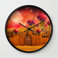 aladdin Wall Clocks featuring Aladdin castle by Tatyana Adzhaliyska
