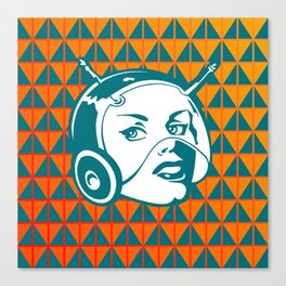 Faces: SciFi lady on a teal and orange pattern background Canvas Print