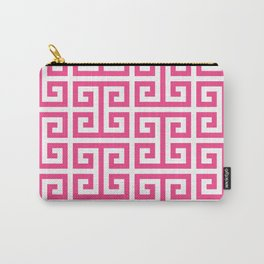 Large Pink and White Greek Key Pattern Carry-All Pouch